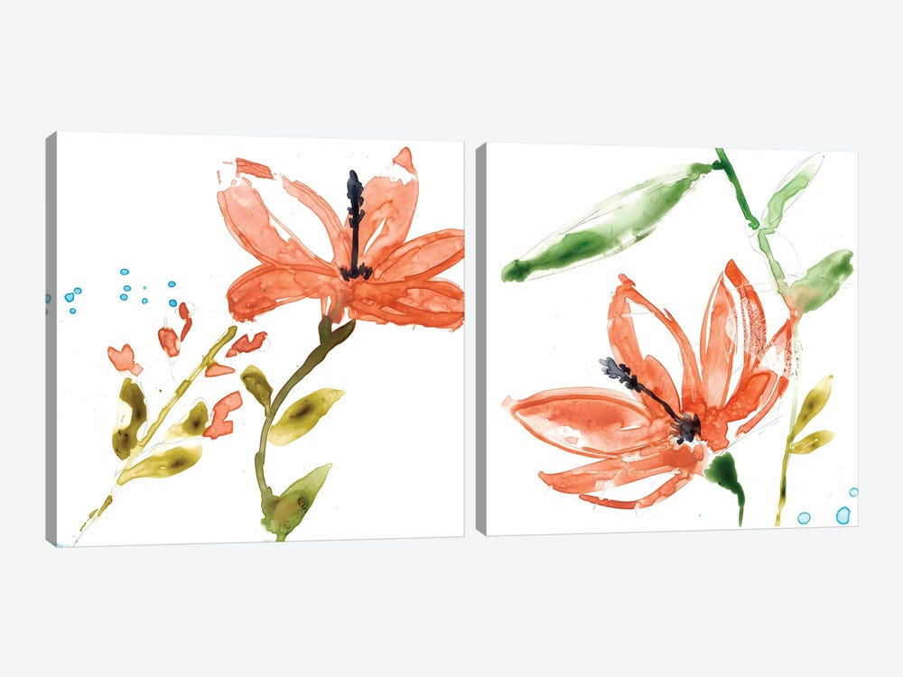 Tropical Display Diptych by Jennifer Goldberger 2-piece Canvas Print