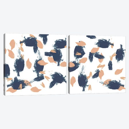Blueberry & Peach Strokes Diptych Canvas Print Set #JGO2HSET010} by Jennifer Goldberger Canvas Art