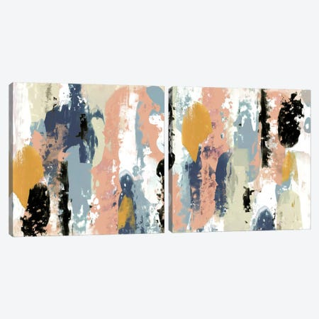 Blueberry Swatches Diptych Canvas Print Set #JGO2HSET011} by Jennifer Goldberger Canvas Artwork
