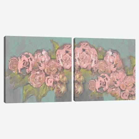 Blush Pink Flowers Diptych Canvas Print Set #JGO2HSET012} by Jennifer Goldberger Canvas Art