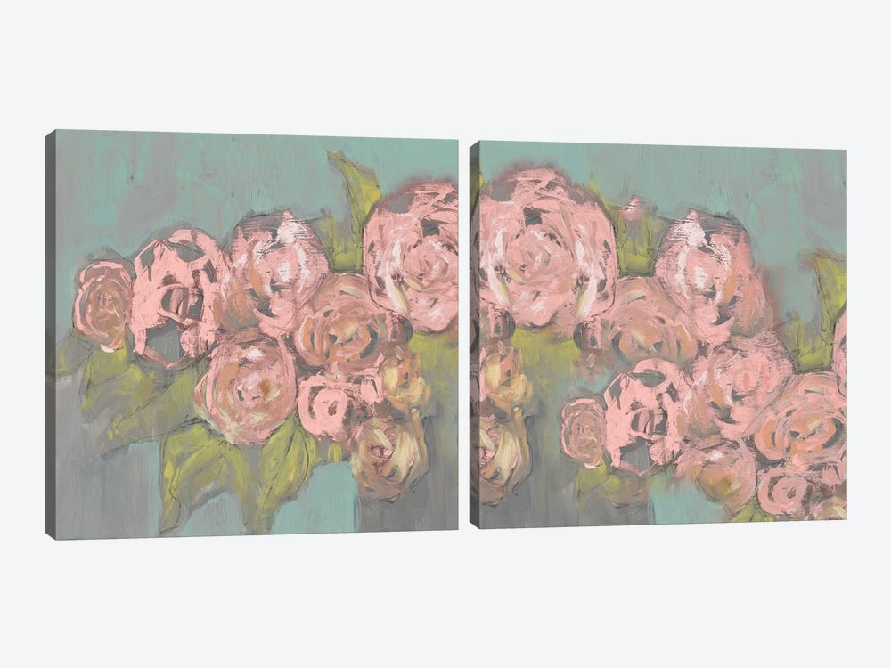 Blush Pink Flowers Diptych 2-piece Canvas Print