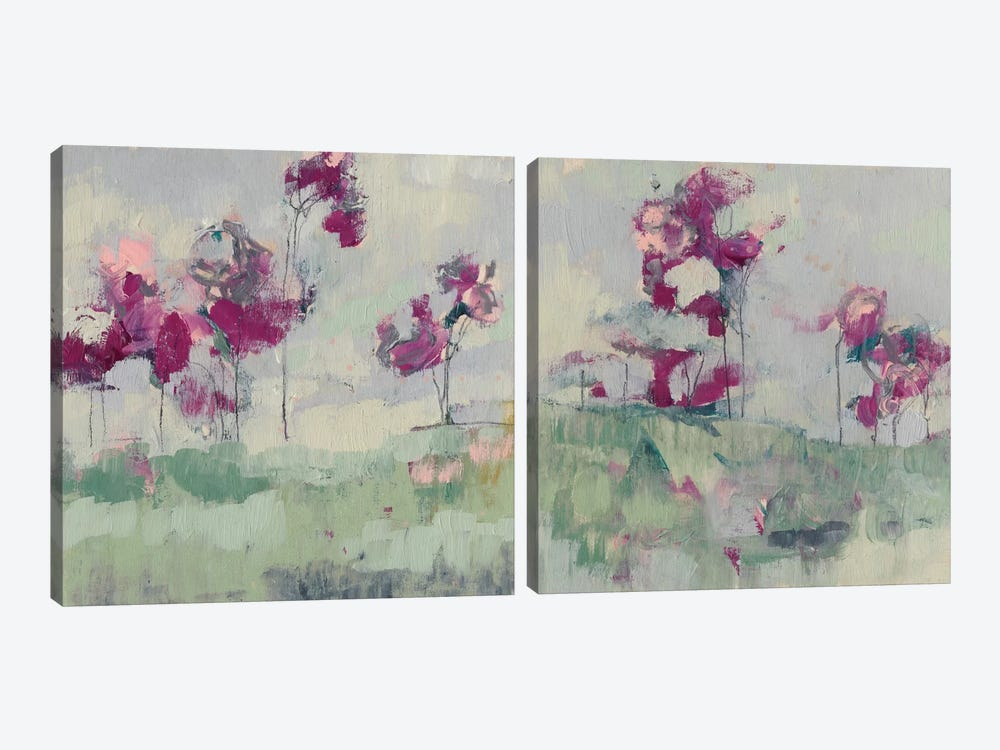 Fuchsia Treeline Diptych by Jennifer Goldberger 2-piece Canvas Art
