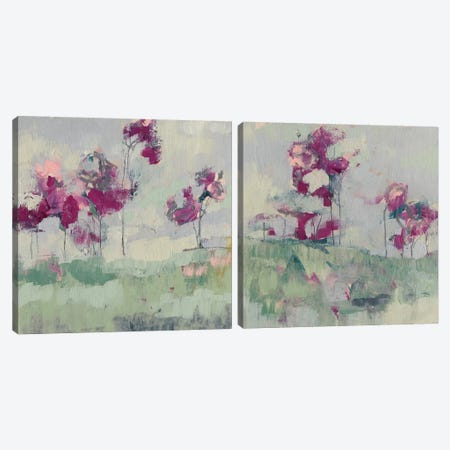 Fuchsia Treeline Diptych Canvas Print Set #JGO2HSET013} by Jennifer Goldberger Canvas Artwork