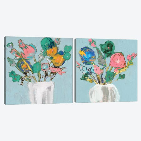 Fun Bouquet Diptych Canvas Print Set #JGO2HSET014} by Jennifer Goldberger Canvas Print