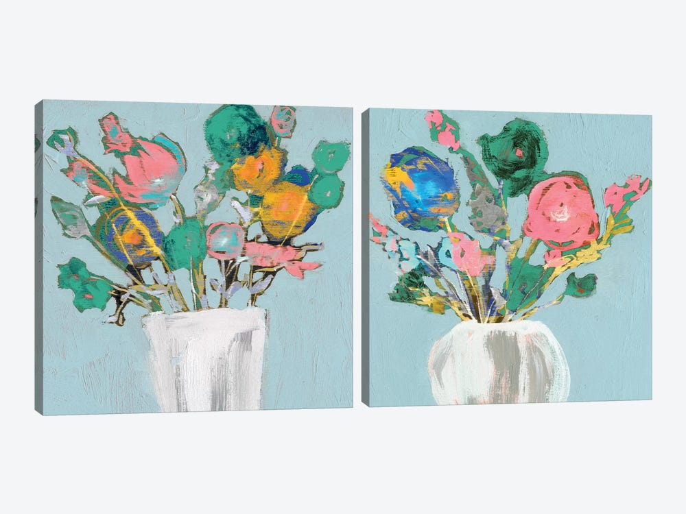 Fun Bouquet Diptych by Jennifer Goldberger 2-piece Canvas Print