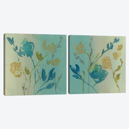 Spa & Sage Bouquet Diptych Canvas Print Set #JGO2HSET016} by Jennifer Goldberger Art Print