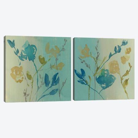 Spa & Sage Bouquet Diptych Canvas Print Set #JGO2HSET016} by Jennifer Goldberger Art Print