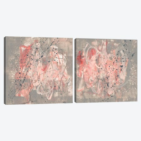 Blush Kinesis Diptych Canvas Print Set #JGO2HSET018} by Jennifer Goldberger Canvas Art