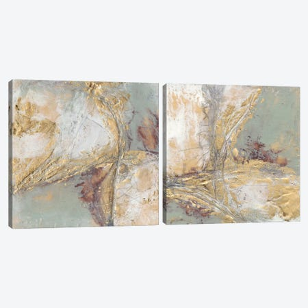 Gilded Circuit Diptych Canvas Print Set #JGO2HSET020} by Jennifer Goldberger Canvas Art Print