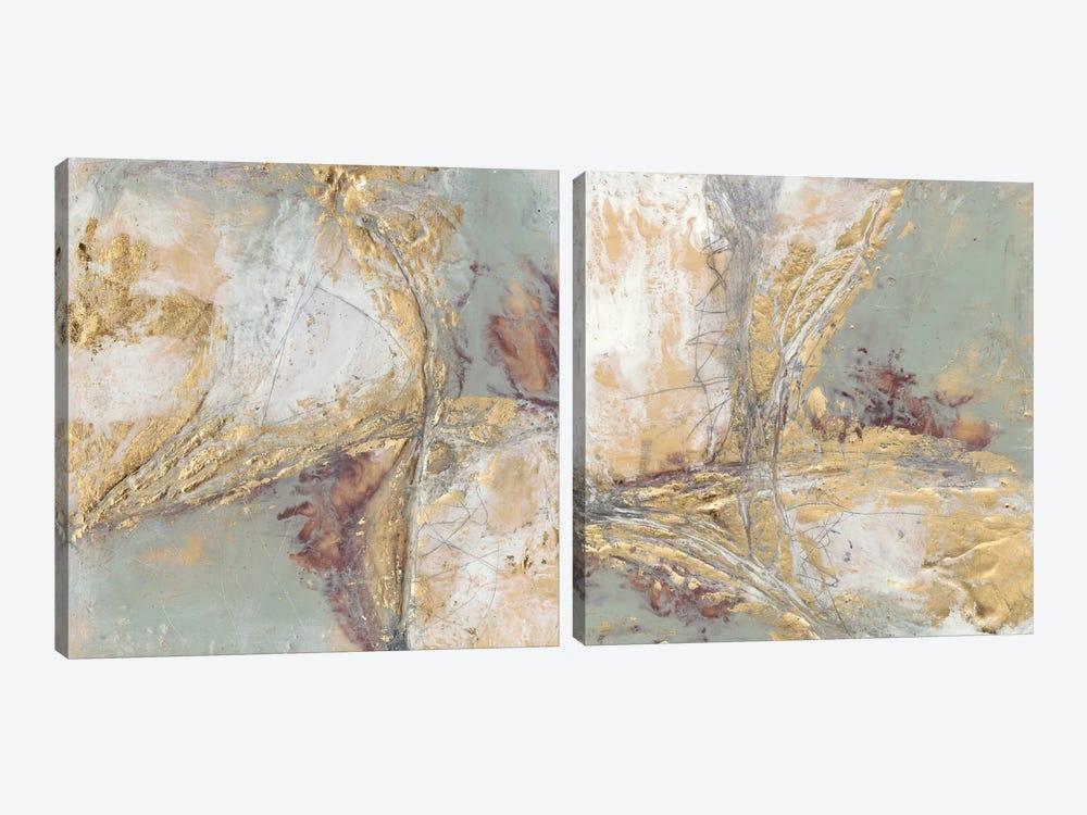Gilded Circuit Diptych by Jennifer Goldberger 2-piece Canvas Artwork