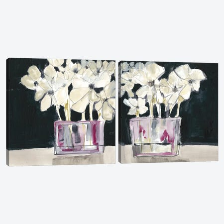 White Flowers In Fuchsia Diptych Canvas Print Set #JGO2HSET025} by Jennifer Goldberger Canvas Art