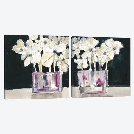 White Flowers In Fuchsia Diptych Canvas Print Set #JGO2HSET025} by Jennifer Goldberger Canvas Art