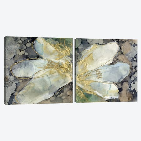 Abstracted Lily Diptych Canvas Print Set #JGO2HSET026} by Jennifer Goldberger Canvas Artwork