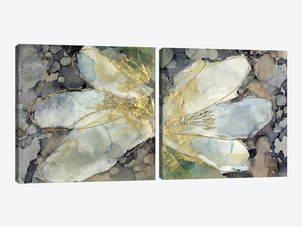 Abstracted Lily Diptych by Jennifer Goldberger 2-piece Canvas Artwork