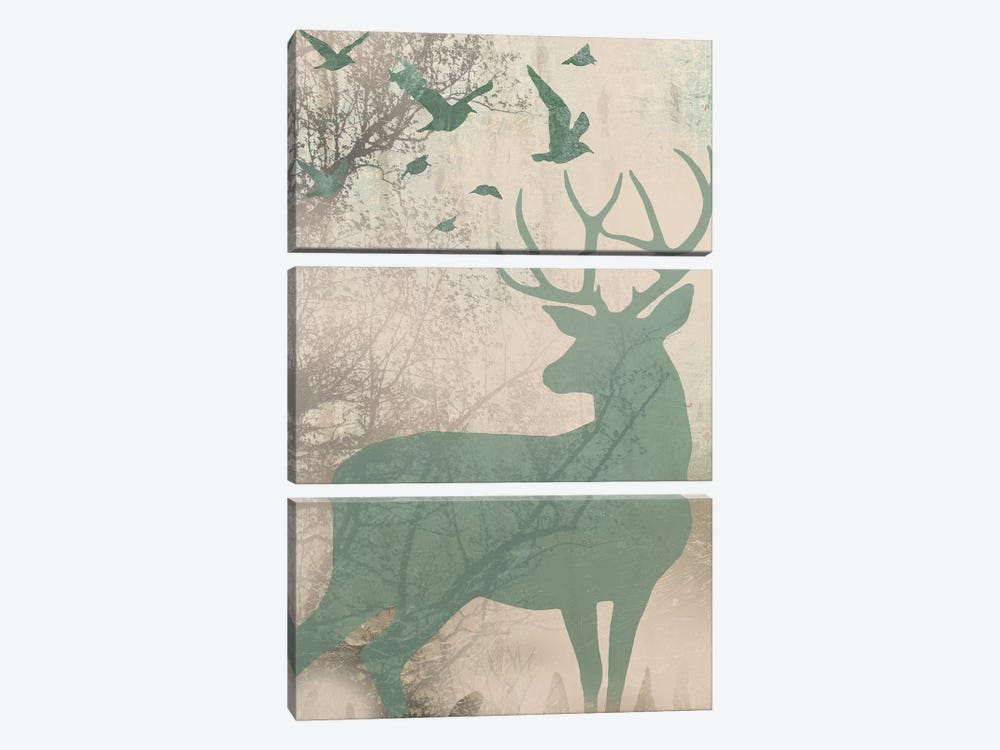 Deer Solace I by Jennifer Goldberger 3-piece Canvas Print