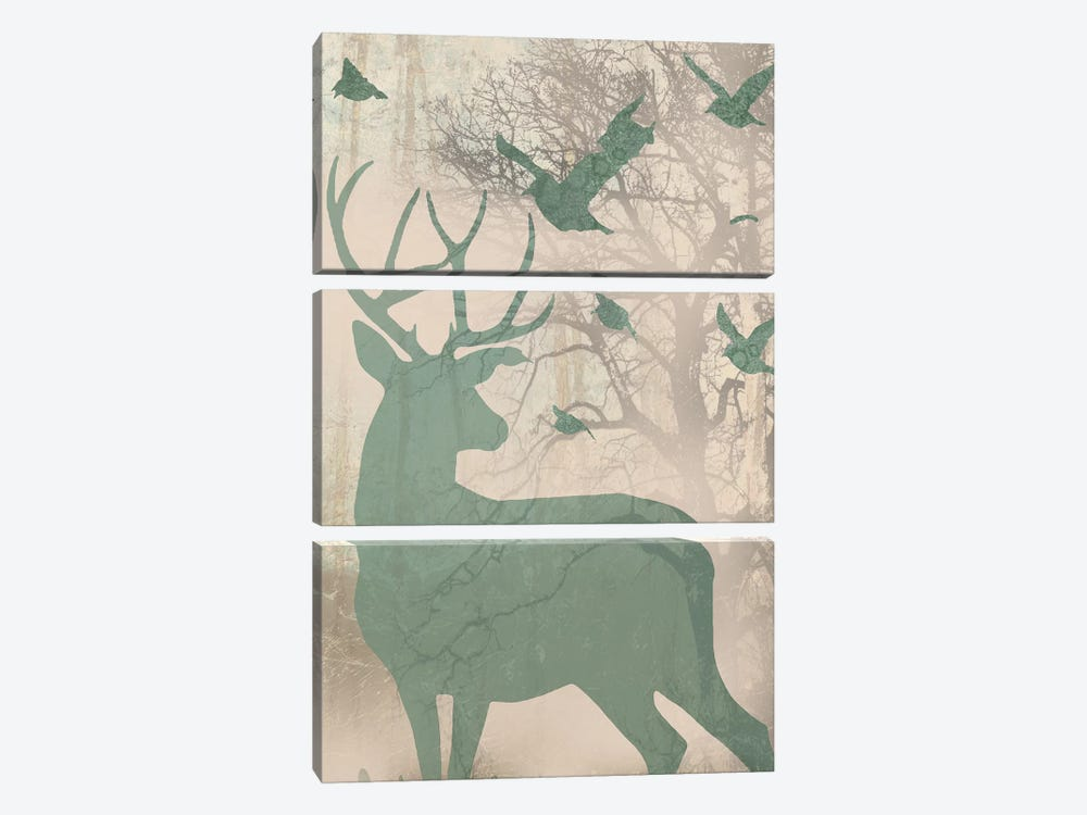 Deer Solace II by Jennifer Goldberger 3-piece Canvas Wall Art