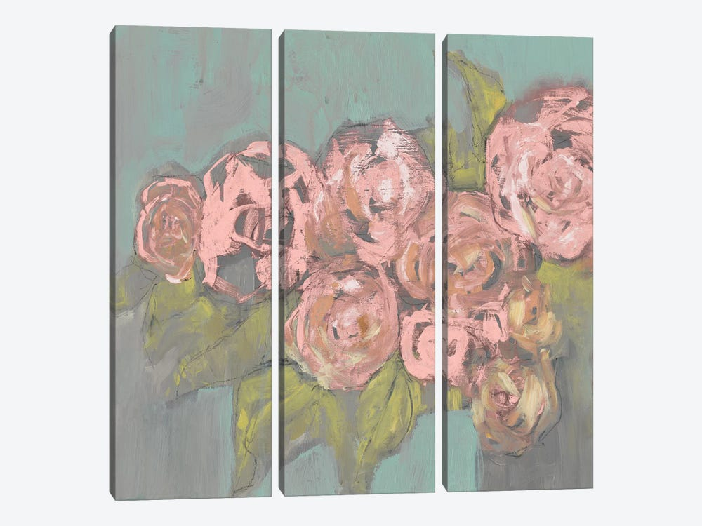 Blush Pink Flowers I 3-piece Canvas Wall Art