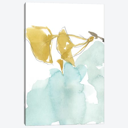 Ginkgo On Dusty Teal I Canvas Print #JGO384} by Jennifer Goldberger Art Print