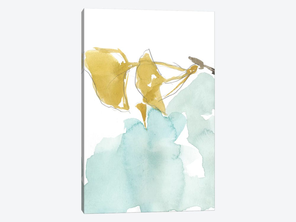 Ginkgo On Dusty Teal I by Jennifer Goldberger 1-piece Canvas Art