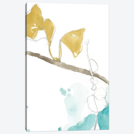 Ginkgo On Dusty Teal II Canvas Print #JGO385} by Jennifer Goldberger Canvas Print