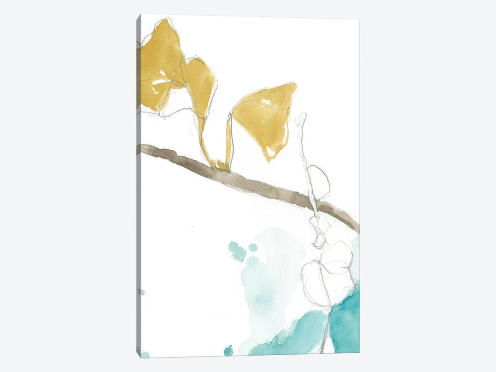 Ginkgo On Dusty Teal II by Jennifer Goldberger 1-piece Art Print