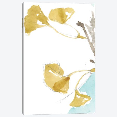 Ginkgo On Dusty Teal IV Canvas Print #JGO387} by Jennifer Goldberger Canvas Art Print