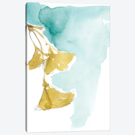 Ginkgo On Dusty Teal IX Canvas Print #JGO388} by Jennifer Goldberger Canvas Wall Art