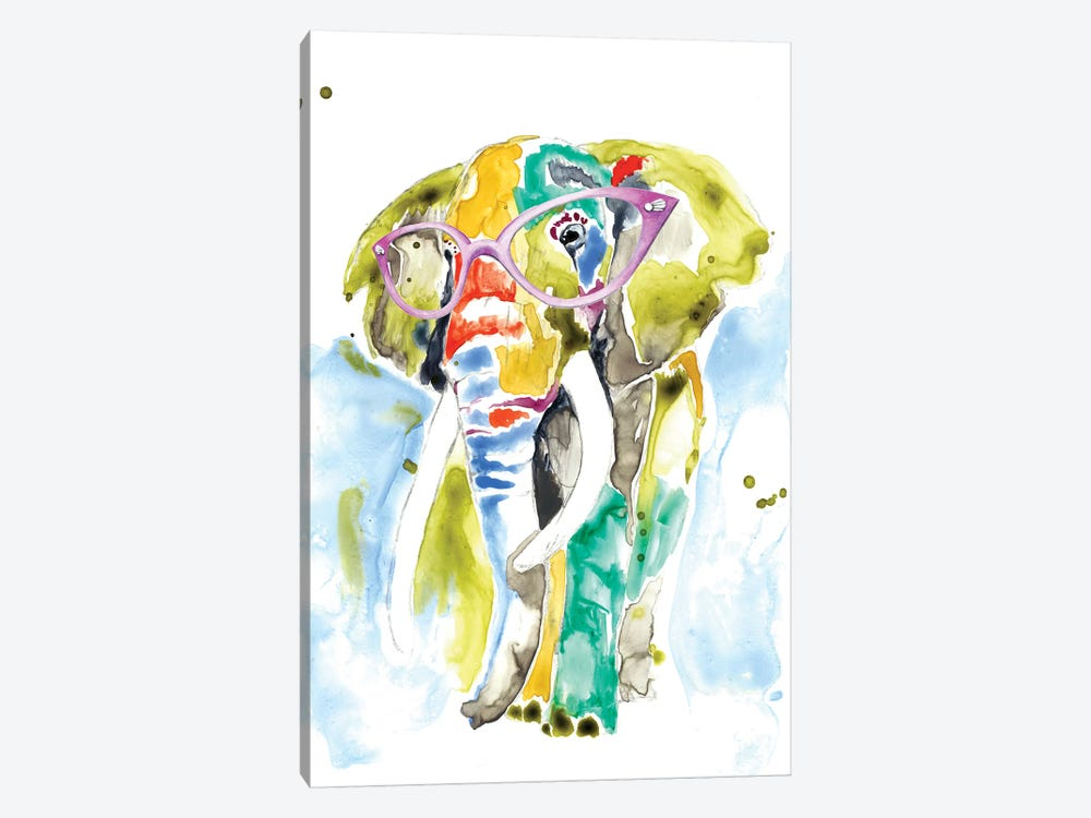 Smarty-Pants Elephant by Jennifer Goldberger 1-piece Canvas Art Print