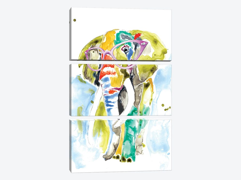 Smarty-Pants Elephant by Jennifer Goldberger 3-piece Canvas Art Print