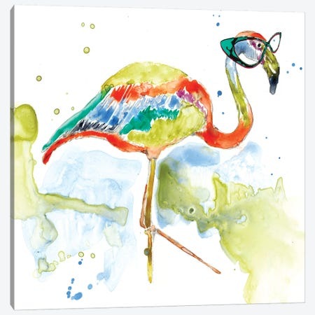 Smarty-Pants Flamingo Canvas Print #JGO438} by Jennifer Goldberger Canvas Wall Art