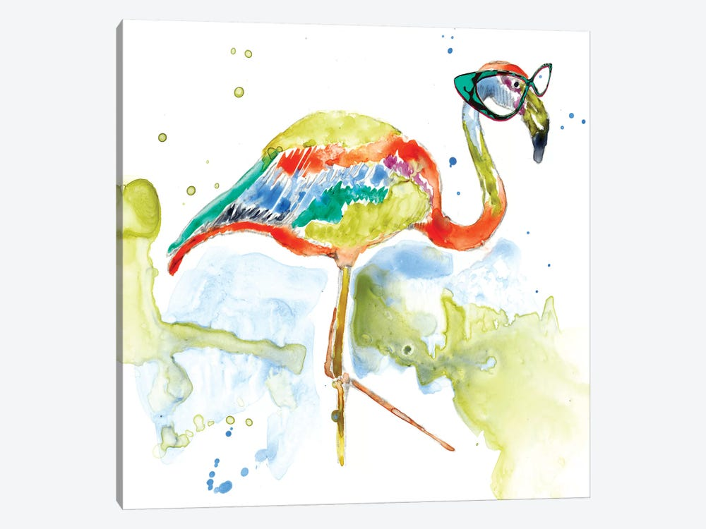 Smarty-Pants Flamingo by Jennifer Goldberger 1-piece Canvas Art