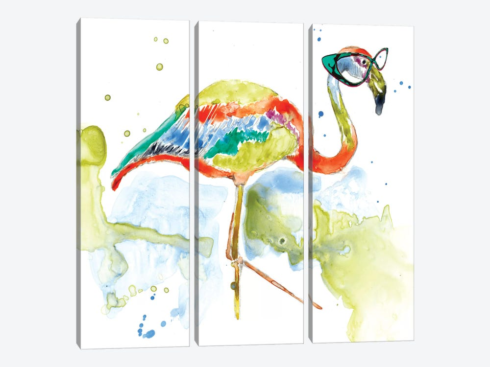 Smarty-Pants Flamingo by Jennifer Goldberger 3-piece Canvas Art