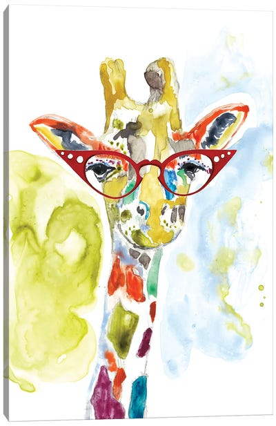 Smarty-Pants Giraffe Canvas Art Print
