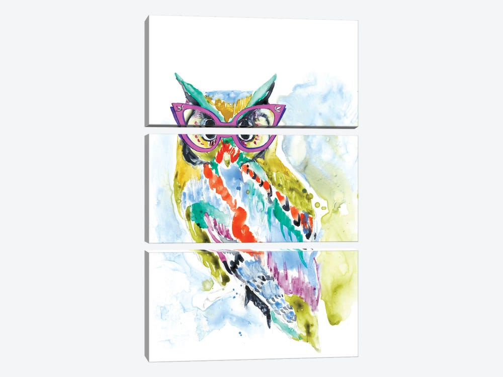 Smarty-Pants Owl by Jennifer Goldberger 3-piece Canvas Art Print