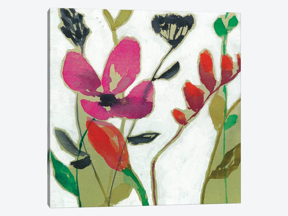Vivid Flowers I by Jennifer Goldberger 1-piece Canvas Print