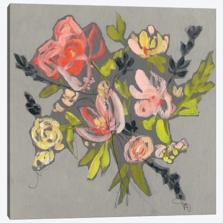 Blush & Paynes Bouquet I Canvas Print #JGO473} by Jennifer Goldberger Canvas Wall Art