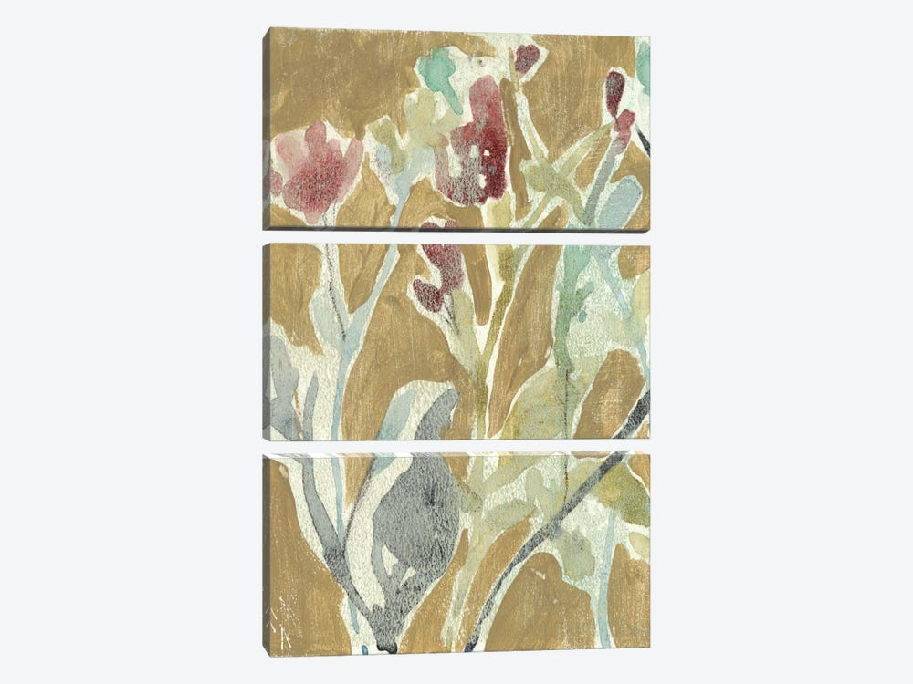 Flowers On Ochre I by Jennifer Goldberger 3-piece Art Print