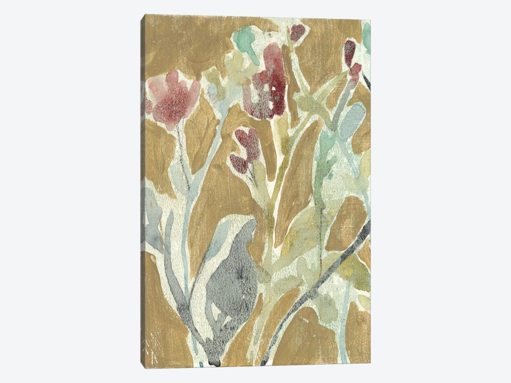 Flowers On Ochre I by Jennifer Goldberger 1-piece Canvas Print