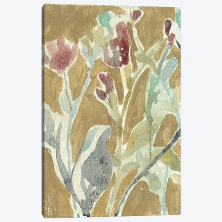 Flowers On Ochre I Canvas Print #JGO48} by Jennifer Goldberger Canvas Art