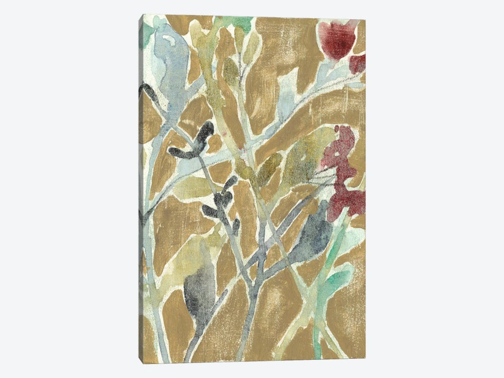 Flowers On Ochre II by Jennifer Goldberger 1-piece Canvas Wall Art