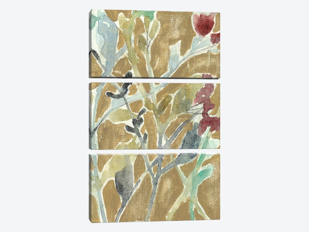 Flowers On Ochre II by Jennifer Goldberger 3-piece Canvas Wall Art