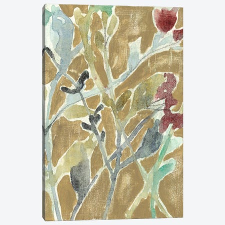 Flowers On Ochre II Canvas Print #JGO49} by Jennifer Goldberger Canvas Wall Art