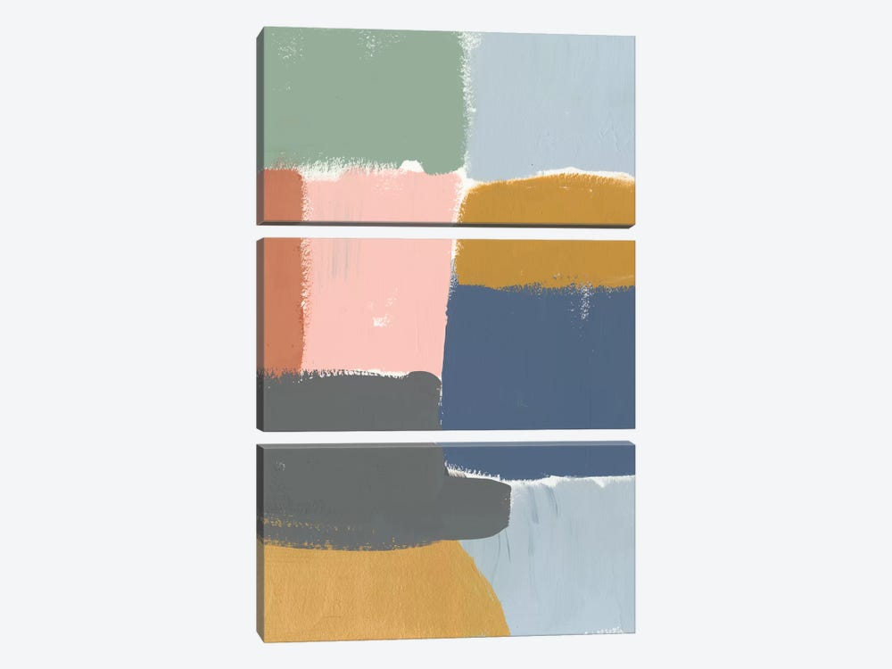 Muted Color Block I by Jennifer Goldberger 3-piece Canvas Art