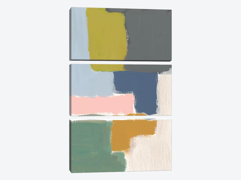 Muted Color Block V by Jennifer Goldberger 3-piece Canvas Art
