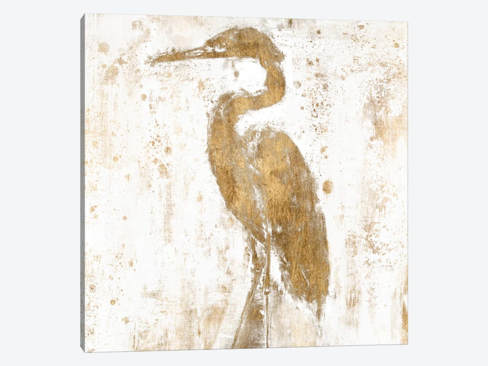 Gilded Heron II by Jennifer Goldberger 1-piece Canvas Art Print