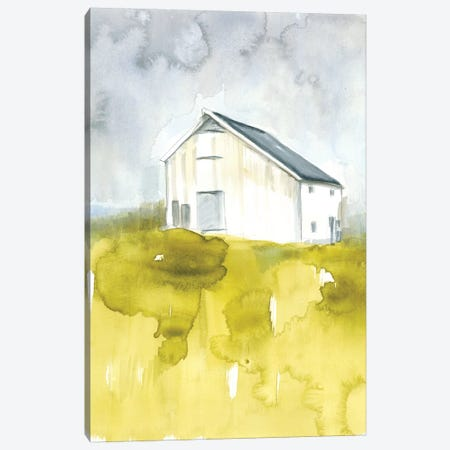 White Barn On Citron I Canvas Print #JGO565} by Jennifer Goldberger Canvas Print