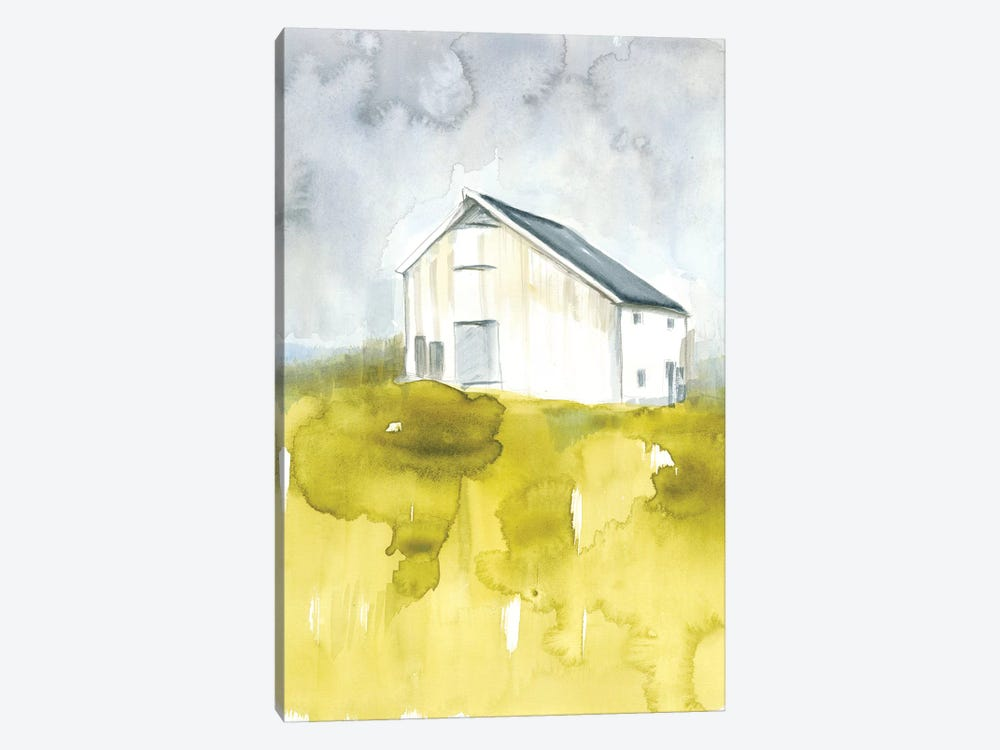 White Barn On Citron I by Jennifer Goldberger 1-piece Canvas Print