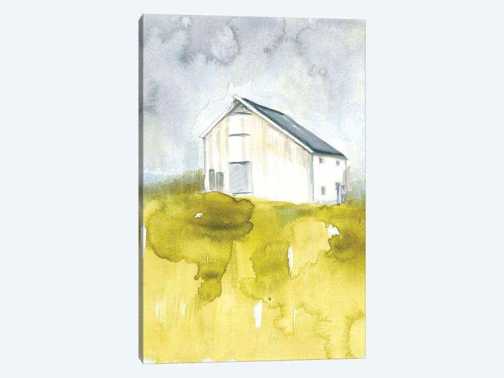 White Barn On Citron I by Jennifer Goldberger 1-piece Canvas Print