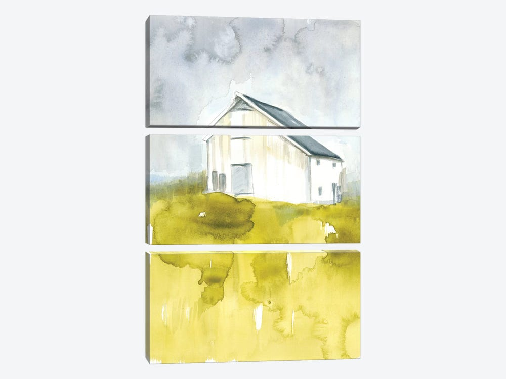 White Barn On Citron I by Jennifer Goldberger 3-piece Canvas Art Print