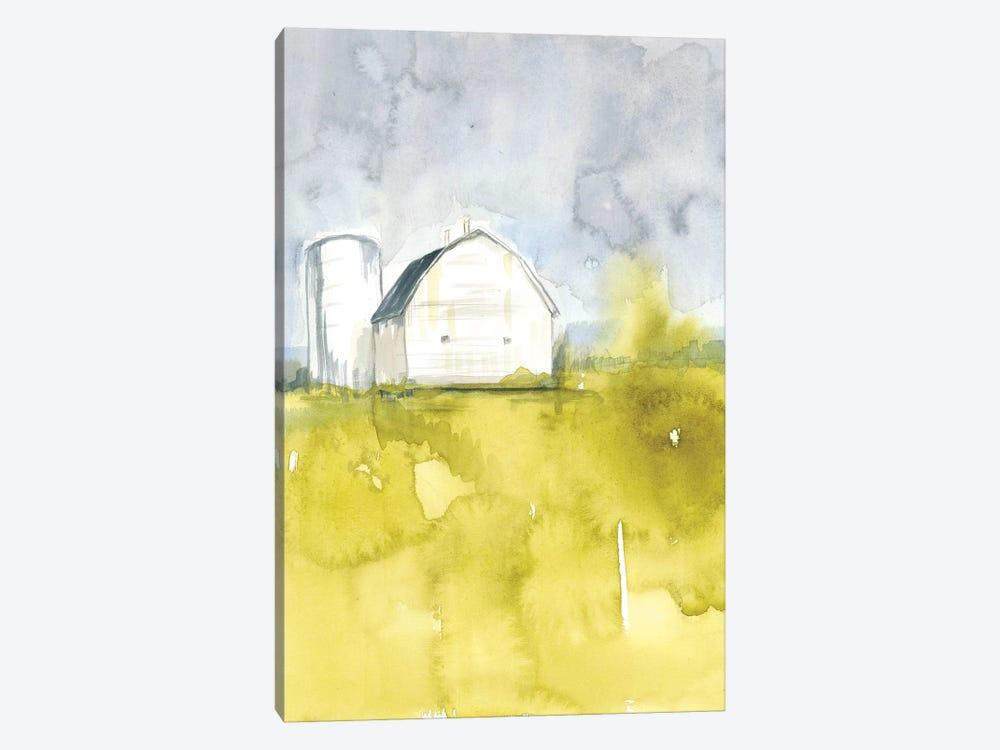 White Barn On Citron II by Jennifer Goldberger 1-piece Canvas Artwork